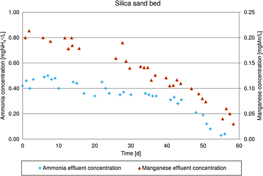 Comparison of ammonia and manganese removal on silica sand bed.