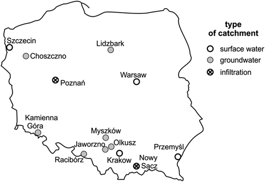 Locations of investigated water supply zones.
