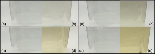 Visual effects of oxidized Mn(IV) in water at varying concentration. Images show a detectable off-color when Mn(IV) was added to L3.5′ × W3.5′ × H4′ containers with 500 mL of (a) deionized Milli-Q® water, (b) 0.05 mg/L Mn(IV), (c) 0.1 mg/L Mn(IV), (d) 0.3 mg/L Mn(IV), and (e) 0.5 mg/L Mn(IV). Mn(IV) was prepared by oxidizing Mn2+ with chlorine to form MnO2.