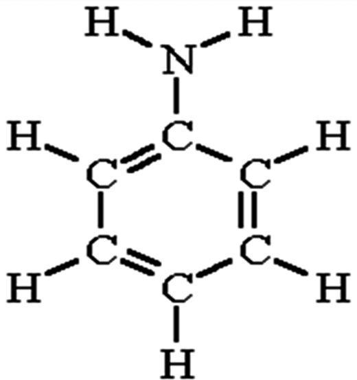 Structural formula of aniline.