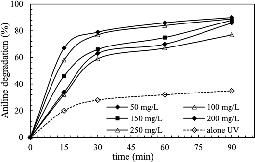 Effect of initial concentration of aniline and reaction time on efficiency of aniline degradation (pH = 7, concentration of CuO = 0.05 g/L).
