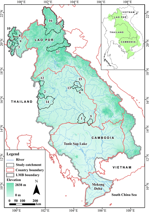 Location map of the study catchments.