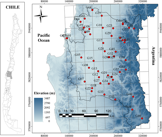 Topographic representation based on the digital elevation model (STRM 90 m). The points denote rain gauges in the Bio Bio Region, and the grey grid TMPA grid cells.
