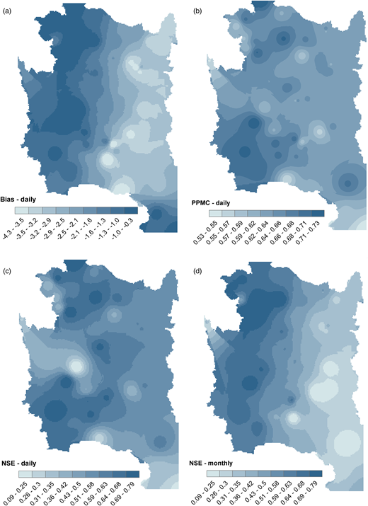 Comparison of the spatial distribution of Bias, PPMC, and NSE metrics. The interpolation method used to represent the spatial variation of these performance measures was IDW.