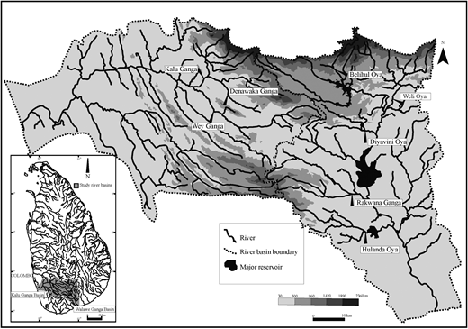 Topography, major drainage network and suspended sediment sampling locations of the Walawe and Kalu Ganga basins. Two tributaries, Denawaka Ganga and Wey Ganga, and main trunk of Kalu Ganga were selected for the sediment sampling in Kalu Ganga basin. Five tributaries, i.e. Belihul Oya, Weli Oya, Diyavini Oya, Rakawana Ganga and Hulanda Oya in Walawe Ganga basin were selected for the sediment sampling. All the selected river basins originate from the Central Highlands of Sri Lanka.