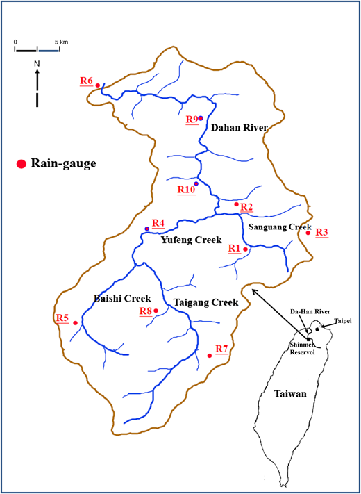 Locations of 14 rain gauges in the Shinmen reservoir catchment.