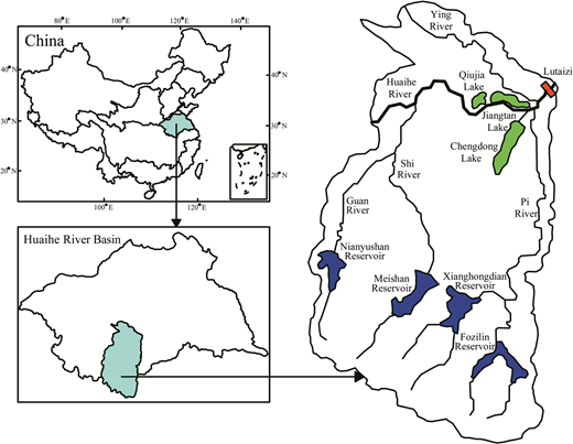 The main reservoirs and flood storage basins distribution in the middle reaches of Huaihe River Basin.