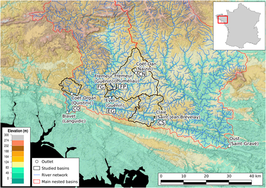 Spatial organisation of the six basins studied in Brittany, France.