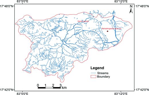 Drainage map of Narava watershed.