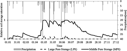 Simulated relative saturation of the Large Pore Storage (LPS) and the Middle Pore Storage (MPS) during the year 1990.