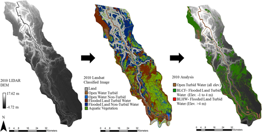 Flow chart of the maps used for the 2010 analysis. From left to right; 2010 LIDAR DEM, classified image of the Atchafalaya River Basin for the 16 February 2010, and map of derived classes using the LIDAR DEM and classified image overlaid on LIDAR DEM. Classified imagery was produced by LDNR Atchafalaya Basin Program Natural Resource Inventory and Assessment System (http://abp.cr.usgs.gov/Map.aspx).