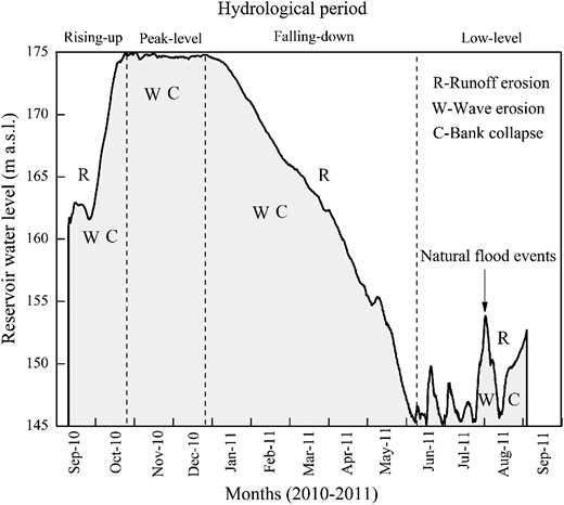 Spatial-temporal co-occurrence of erosion forms (wave erosion, runoff erosion, and bank collapse) associated with hydrological fluctuation in the riparian zone of the TGR.