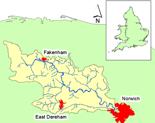 River Wensum catchment in eastern England.