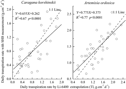 Comparisons of C. korshinskii and A. ordosica daily transpiration rates by Li-6400 extrapolation and SHB measurement during the experimental period (April 2008–October 2012).