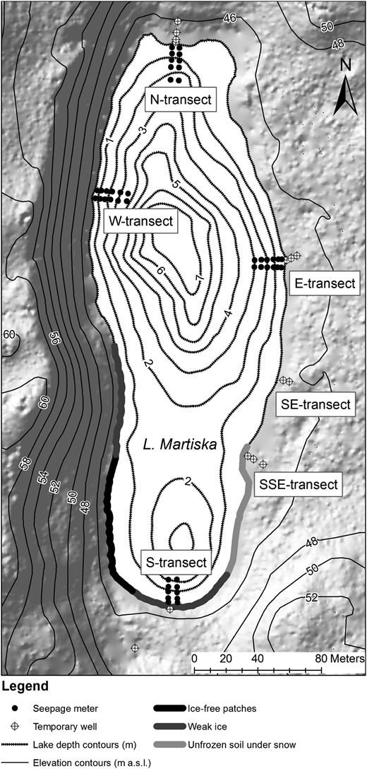 Bathymetry of L. Martiska, location of seepage meter transects, temporary wells for groundwater level monitoring and unfrozen portions of the lake perimeter according to winter mapping (the digital elevation model was created according to year 2009 LIDAR-points obtained from the Estonian Land Board).