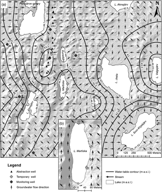 (a) Piezometric map and groundwater flow directions in the central part of the Kurtna Lake District in June 2012, interpolated according to water levels from temporary and permanent wells and lake levels; (b) groundwater flow directions around L. Martiska in June 2012, interpolated according to water levels from temporary wells and the lake level (the digital elevation model was created according to year 2009 LIDAR-points obtained from the Estonian Land Board).