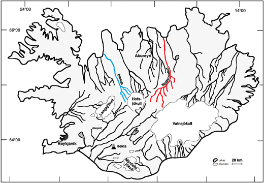 Schematic map of Iceland showing its main rivers, glaciers, lakes, along with the locations of the Blanda and Skjálfandafljót rivers, which are the focus of this study. Adapted from Louvat et al. (2010, p. 682).