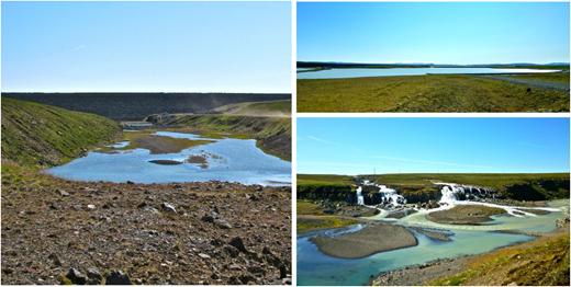 Blöndulón dam (left), Blöndulón reservoir (top right) and the overflow (bottom right). Photos: © Owen King.