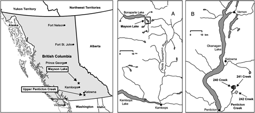 Location of the Mayson Lake research site (A) and Upper Penticton Creek watershed experiment (B).