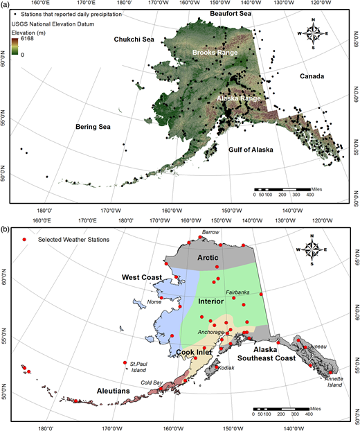(a) Location map of state of Alaska showing elevation range. Green circles show the location of 24-hour (daily) precipitation gauges. (b) Six major climatic zones in Alaska with the location of meteorological stations (red dots) used in the analysis of solid/liquid precipitation.