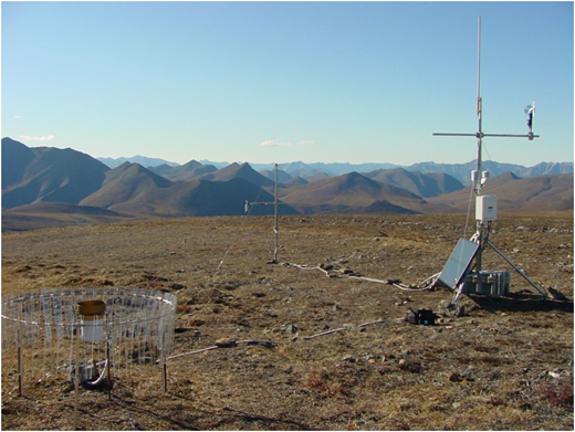 Standard NOAA/National Weather Service 8 in. (∼20 cm) orifice precipitation gauge with an Alter (wind) shield at a remote site north of the Arctic Circle in the Brooks Range, Alaska. The station is visited twice per year (early spring and late summer) and powered with a solar panel and 12-volt batteries. It does not collect precipitation data during the cold season and communicates by radios and the Internet with the University of Alaska Fairbanks.