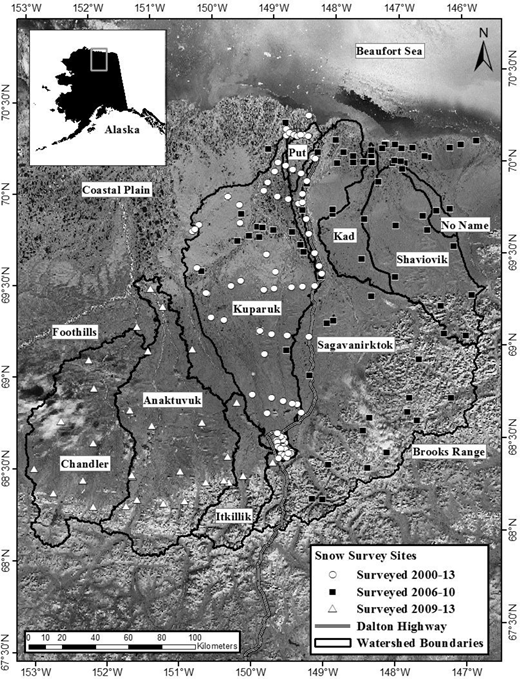 Site map showing snow survey locations within several Central Alaska North Slope watersheds.
