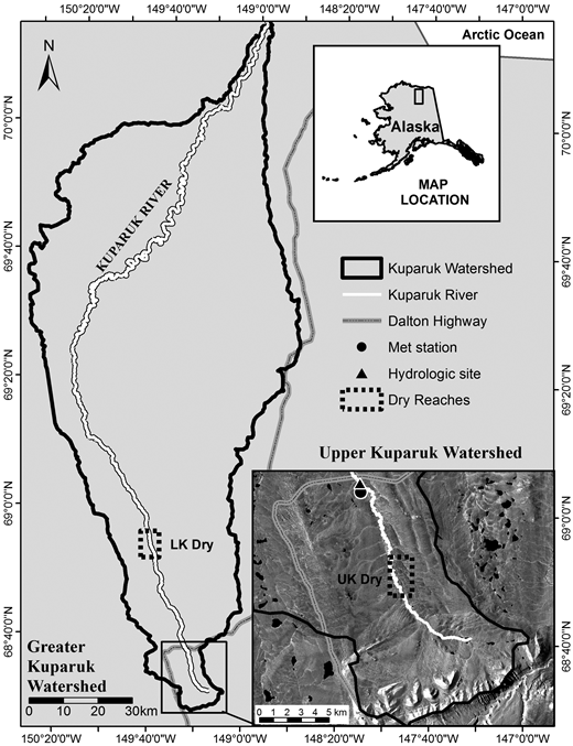Map showing the location of the Kuparuk watershed, North Slope of Alaska. Image shows the location of the Lower Kuparuk dry reach site (LK Dry), the Upper Kuparuk dry reach site (UK Dry), as well as the Upper Kuparuk meteorological station and stream gauging site.