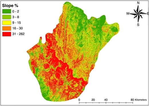 A slope map for identifying potential RWH sites. Note: Typical input maps, used for the development, testing and validation of DSS.