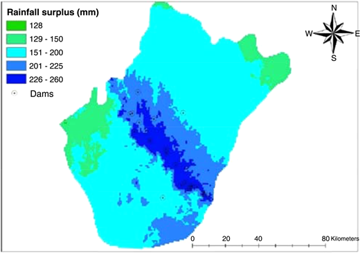 The rainfall surplus map of the study area. Note: Typical input maps, used for the development, testing and validation of DSS.