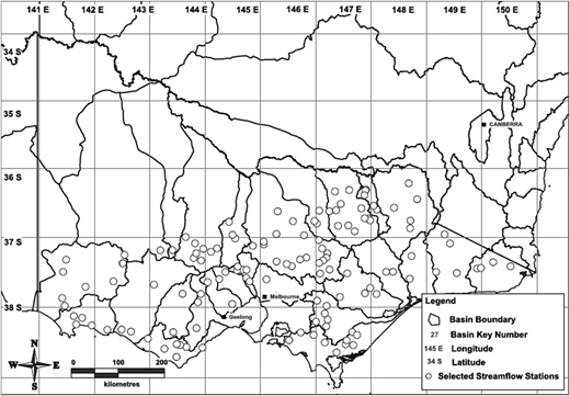 Geographical distribution of the selected 131 study catchments in Victoria, Australia.