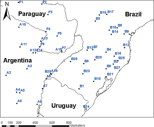 Map of the study area and location of the 51 rain gauges.