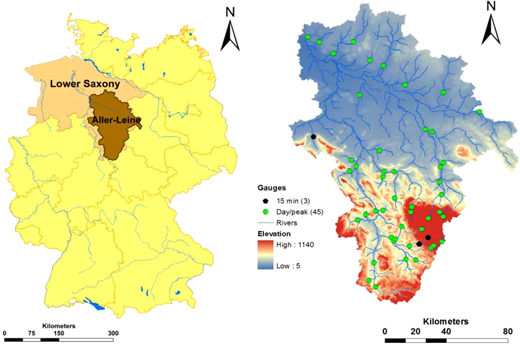 Study region showing the Aller-Leine catchment within Germany and the federal state of Lower Saxony; the right figure displays the topographic structure of the catchment, the location of 45 daily flow stations including three stations with 15 min continuous flow record.