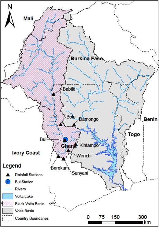 Map of the study area showing the riparian countries and the Volta basin.