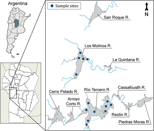 Principal reservoirs of the western region of Córdoba province and position of sampling sites in Los Molinos and Río Tercero reservoir.
