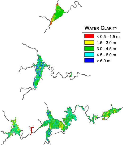 Estimated water clarity map obtained from November, 10 2010 ETM+ image.