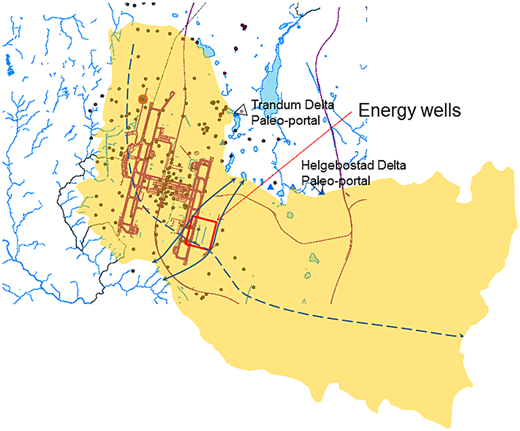 The Gardermoen aquifer is a superposition of two deltas with paleo-portals at Trandum and Helgebostad. The map shows the groundwater divide (dashed curve), flow lines (arrowed curves), the airport, and the energy wells location (square).