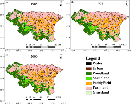 Land cover maps for (a) 1985, (b) 1995 and (c) 2000.
