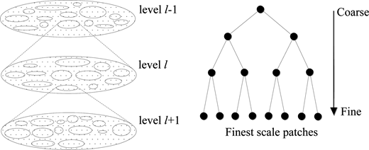 Hierarchical decomposition of a groundwater system (left) recursive subdivision and hierarchical patch network.