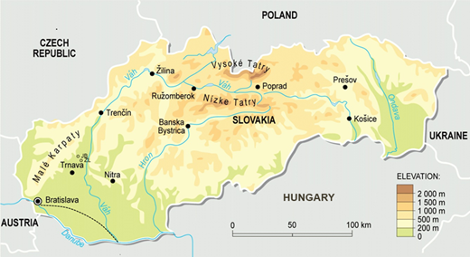 Map of Slovakia with topography and the main river system (Žitný Island is SE of Bratislava).