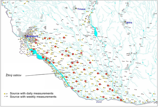 Groundwater monitoring and sampling sources in Žitný Island (circles indicate the sampling sites).