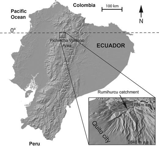 Location of the study area, Rumihurcu catchment, Pinchincha Volcano, Ecuador.
