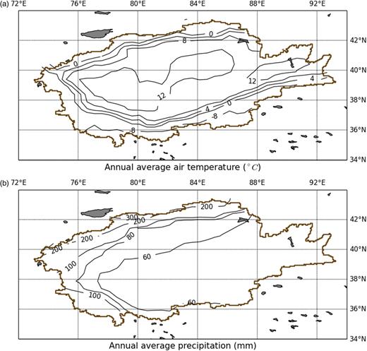 Contours of annual average temperature and precipitation in the Tarim River Basin.