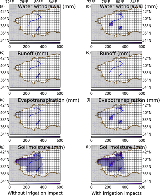 Spatial effects of irrigation on surface water fluxes and states.