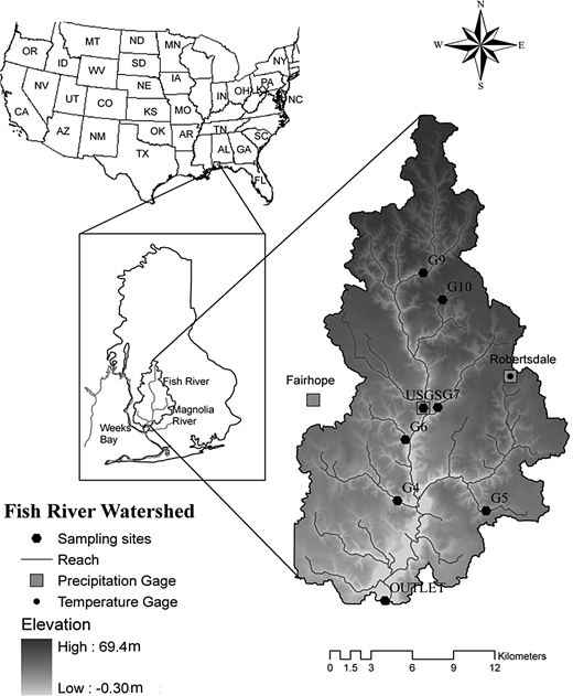 Location of the Fish River watershed along with the water quality sampling sites and precipitation and the temperature gauges. The naming of the water quality sites is from Basnyat (1998) and Neil & Chandler (2003).