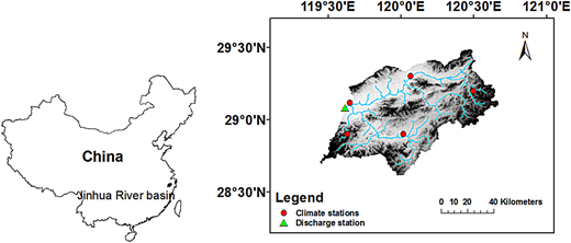 Location of the Jinhua River basin and distribution of weather and discharge stations.