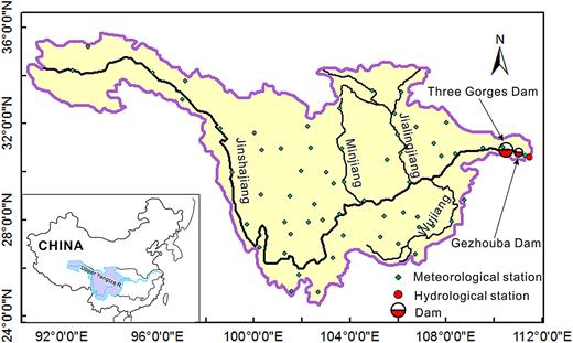 Map of the upper Yangtze River.