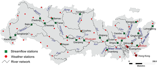 Meteorological and streamflow stations in the Pearl River basin.