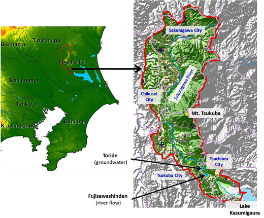 Location of Sakuragawa River watershed. Red line: watershed boundary; pink line: municipal boundary; blue line: river. Please refer to the online version of this paper to see this figure in color.