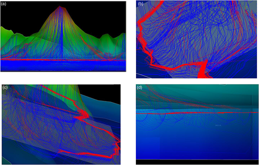 Streamlines around Mt. Tsukuba in the wet case: (a) overall view; (b) from South; (c) from North; (d) close up of the surface-subsurface interface. Blue lines: subsurface flows; red lines: surface flows. Please refer to the online version of this paper to see this figure in color.