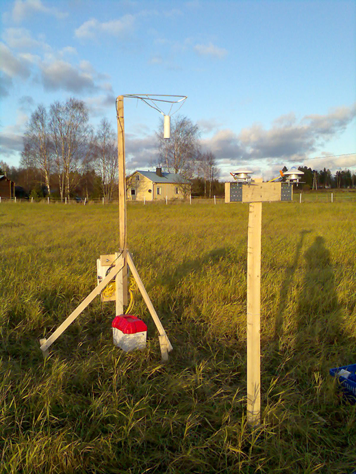 Setup of the radiation and temperature observational station at the open field site in Evo, southern boreal Finland.